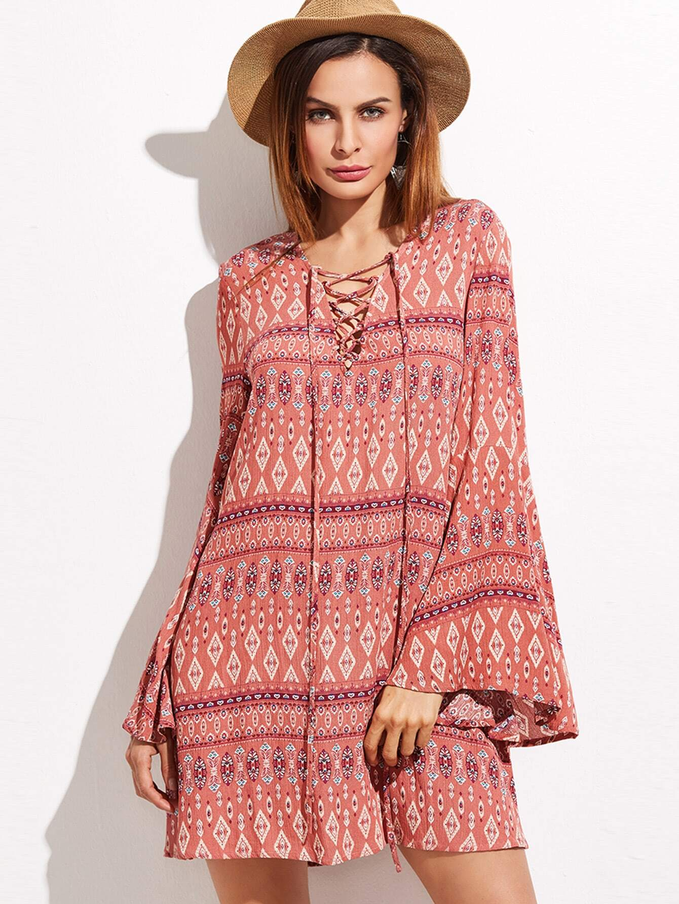 Red Tribal Print Criss Cross Front Bell Sleeve DressRed Tribal Print Criss Cross Front Bell Sleeve Dress<br><br>color: Red<br>size: L,M,S