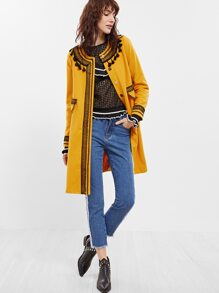 Yellow Contrast Embroidered Lace Trim Collarless Coat