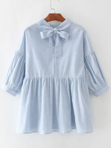 Vertical Striped Babydoll Blouse With Bow Tie