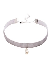 Light Grey Faux Pearl Pendant Velvet Choker Necklaces