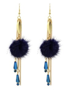 Blue Color Chain Long Hanging Earrings