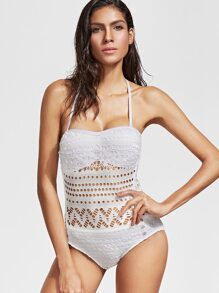 White Halter Hollow Out One-Piece Swimwear
