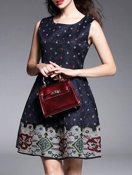 Фото Navy Jacquard Embroidered A-Line Dress. Купить с доставкой