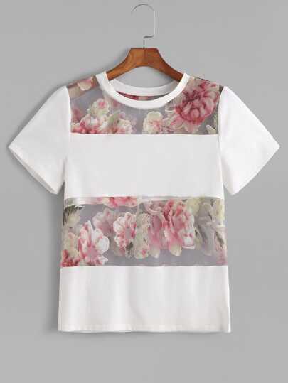 Calico Print Mesh Insert T-shirt