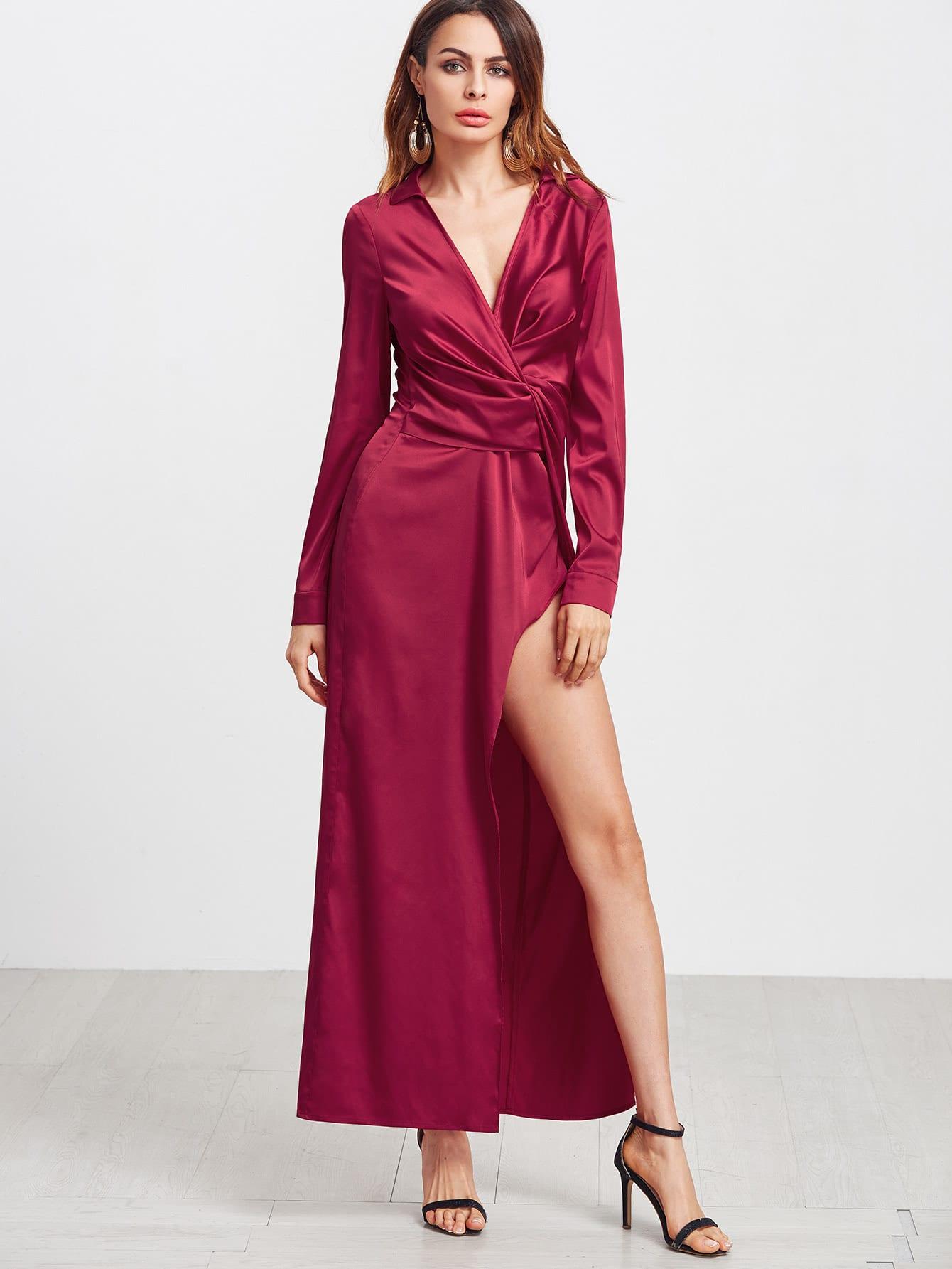 Red Deep V Neck Twist Front Long Sleeve Dress dress161230703