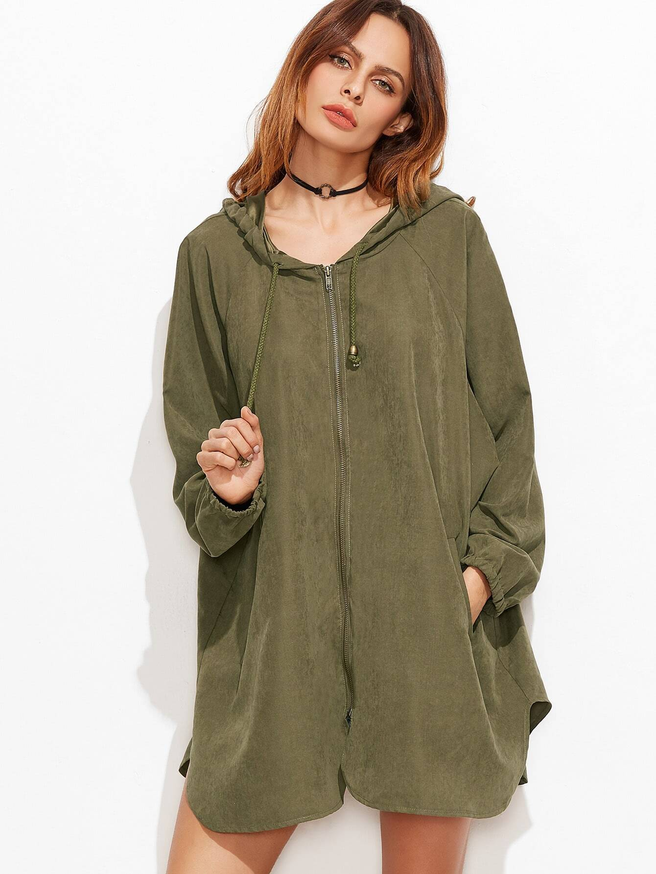Olive Green Zipper Front Hooded Raglan Sleeve Swing Coat
