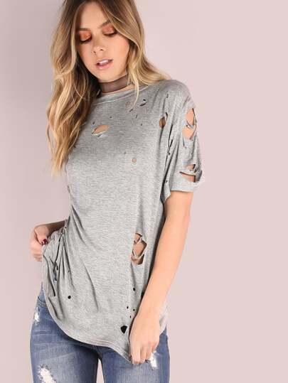 Heather Grey Short Sleeve Distressed T-shirt