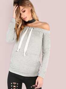 Sweat-shirt à col bateau -gris bruyère