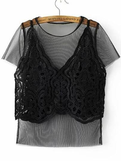 Black Mesh Tee With Lace Crochet Cami Top