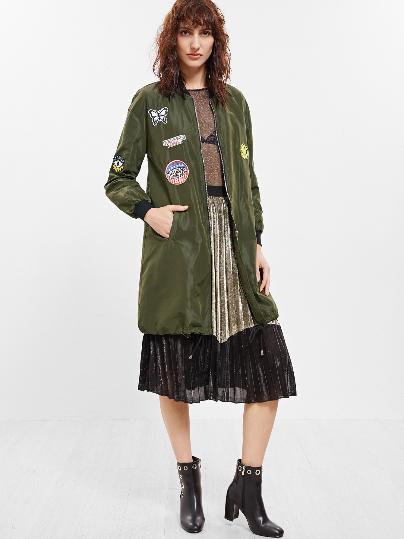 Image of Army Green Patch Pocket Long Sleeve Jacket