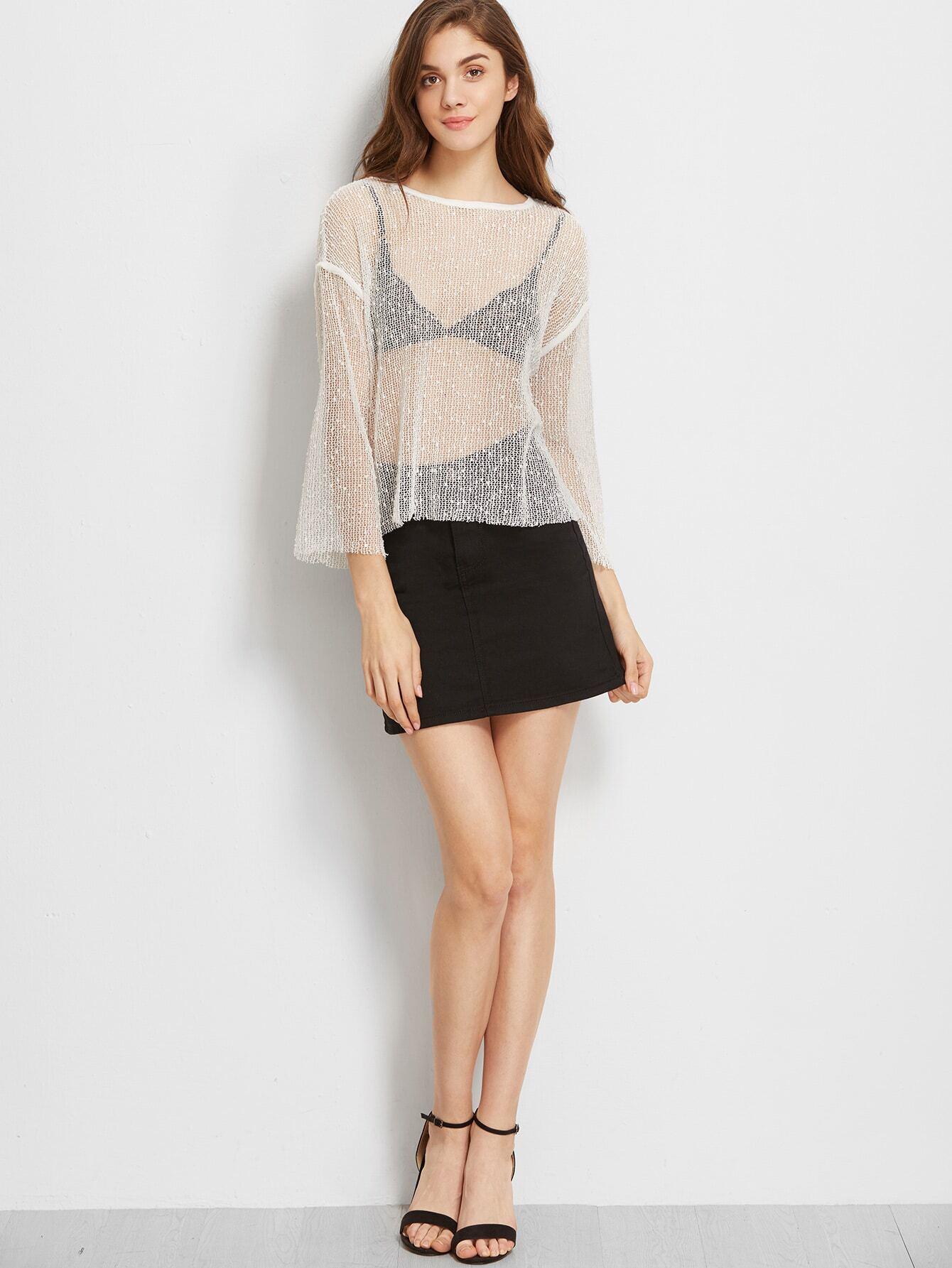 Drop Shoulder Hollow Out Knit T Shirt Shein Sheinside