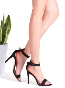 Black Suede Peep Toe Ankle Strap Stiletto Sandals