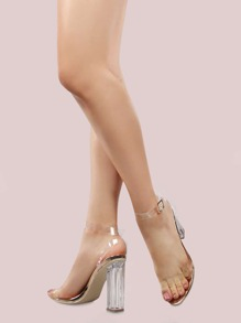Metallic Clear Strap Perspex Heels ROSE GOLD
