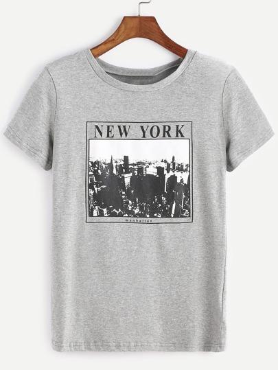 Heather Knit Graphic Print T-shirt