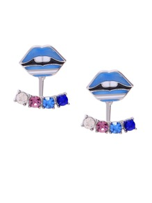 Multicolor Crystal Embellished Lip Modelling Statement Earrings