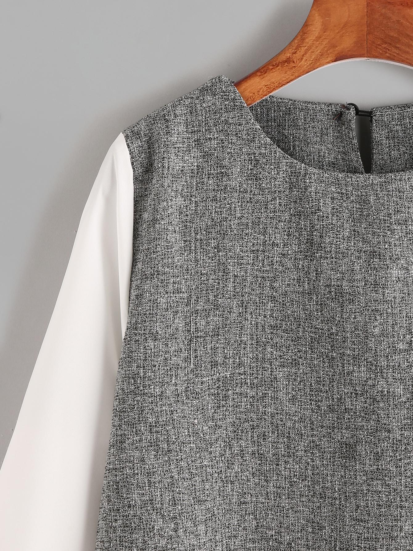 kontrast 2 in 1 bluse mit keyhole hinten german shein. Black Bedroom Furniture Sets. Home Design Ideas