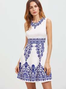 Blue And White Porcelain Print A Line Dress