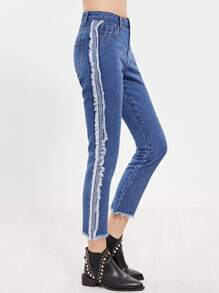 Blue Frayed Sideseam And Hem Crop Jeans
