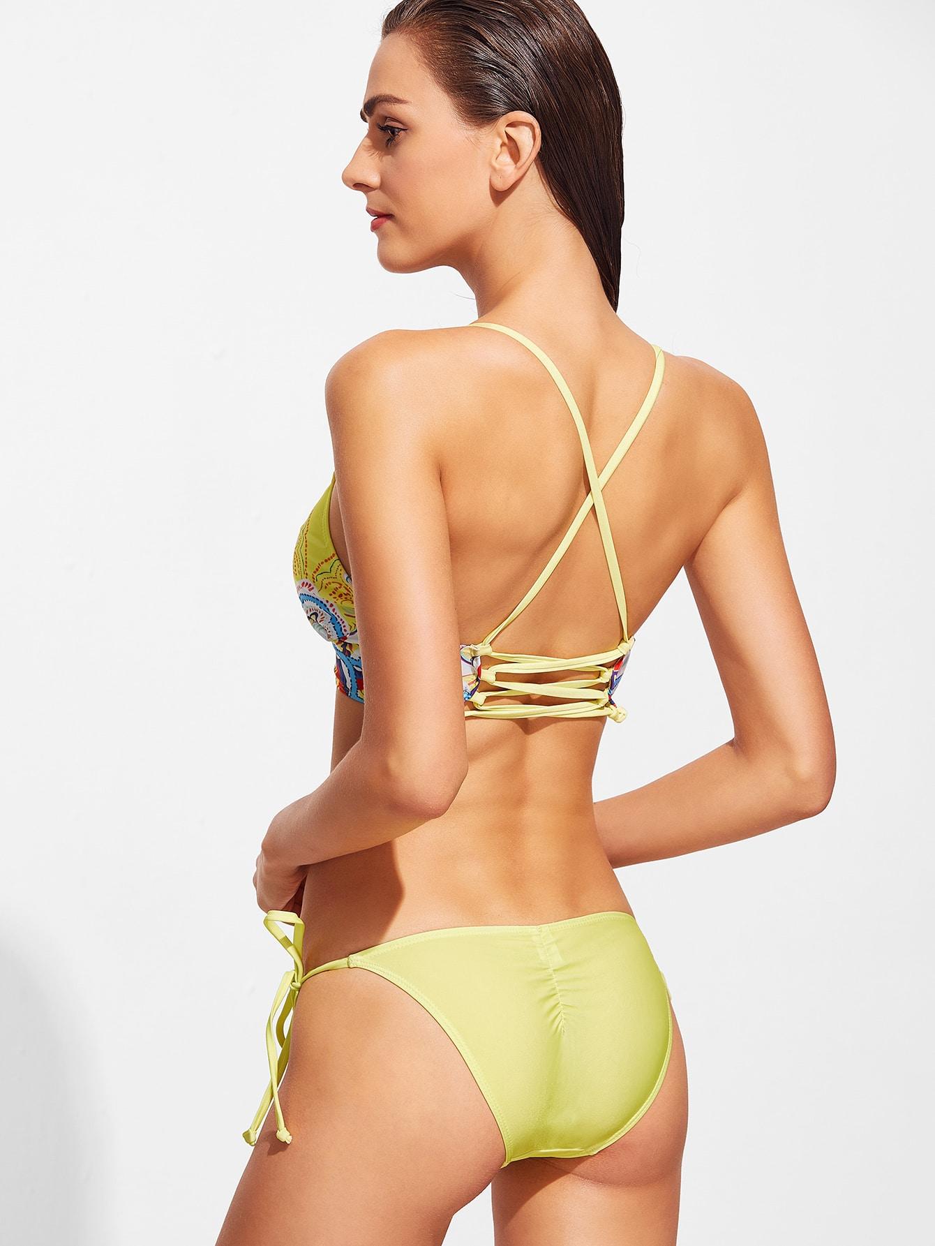 Yellow Floral Print Cross Back Side Tie Bikini Set Shein