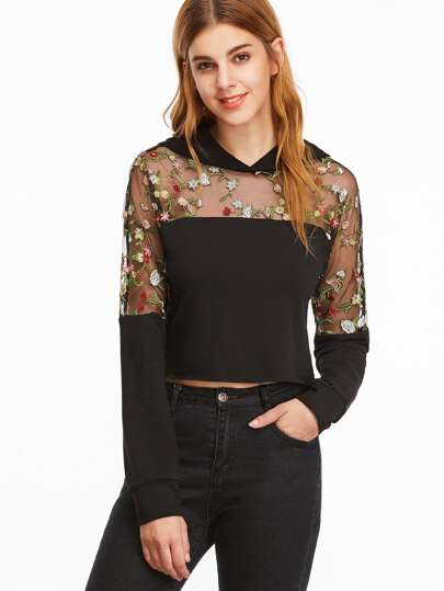 Floral Embroidered Mesh Shoulder Crop Hoodie