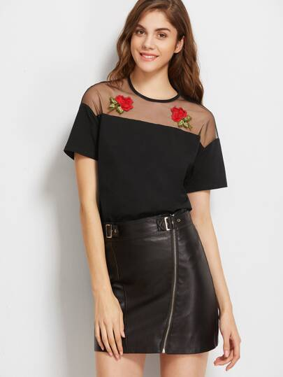 Embroidered Rose Applique Mesh Shoulder T-shirt