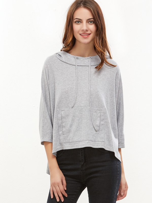Dip Hem Pocket Front Hooded Sweatshirt, Neda