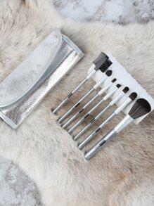 Metallic Makeup Brush Set SILVER