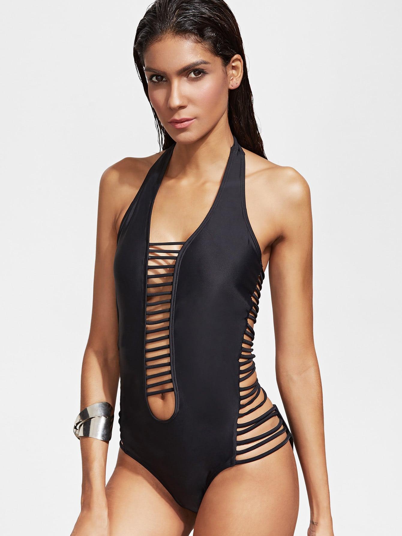 Black Ladder Cutout Plunge Neck One-Piece Swimwear