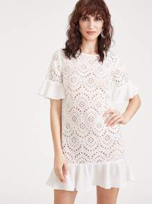White Ruffle Cuff And Hem Eyelet Embroidered Dress