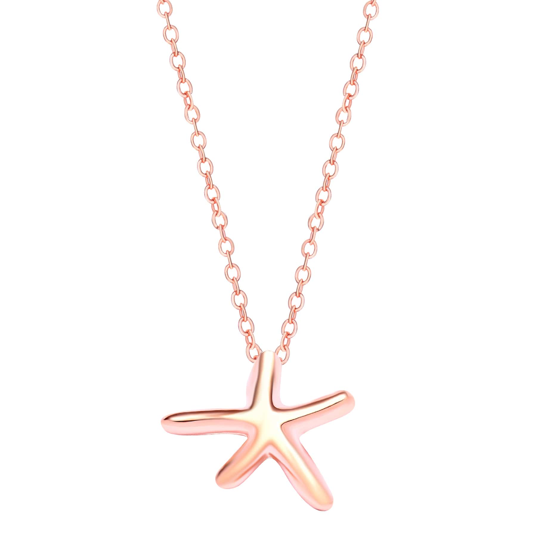 Rose Pink Plated Starfish Pendant Necklace