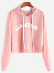 Sudadera corta con estampado de letra con capucha - rosa