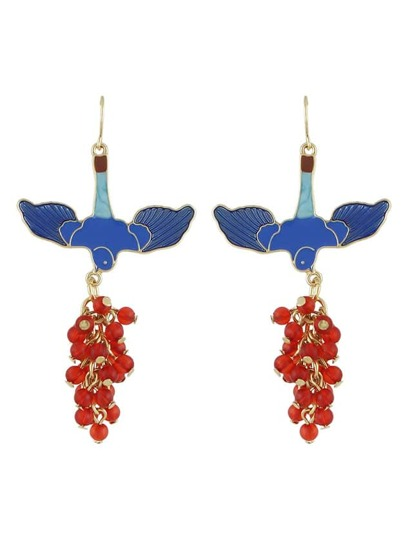 Red Color  Bird Shape  Long Earrings