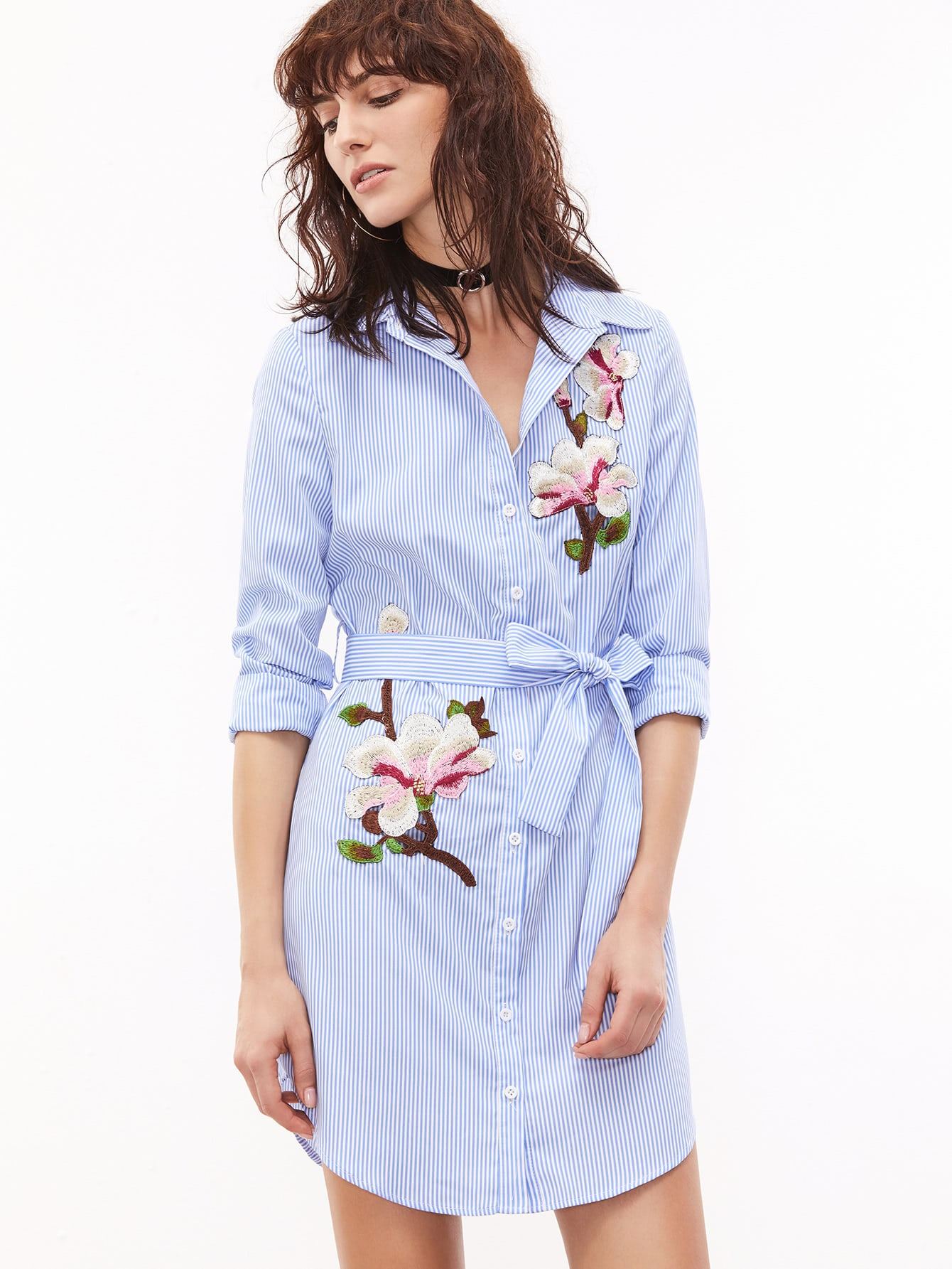 Pinstripe Self Belted Embroidered Shirt Dress eyelet embroidered self belted dress