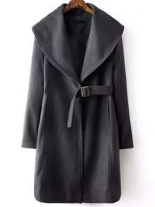 Grey Shawl Collar Tie Front Coat