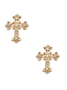 Gold Tone Gem Inlay Cross Stud Earrings