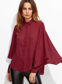 Burgundy Pointed Collar Buttoned Cuff Oversized Ruffle Sleeve Blouse