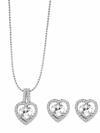 Cristal Inlay de Coeur perlé Ensemble de bijoux