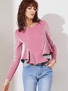 Pink Long Sleeve Velvet Ruffle Hem Top