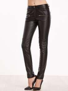 Faux Leather Knee Quilted Skinny Pants