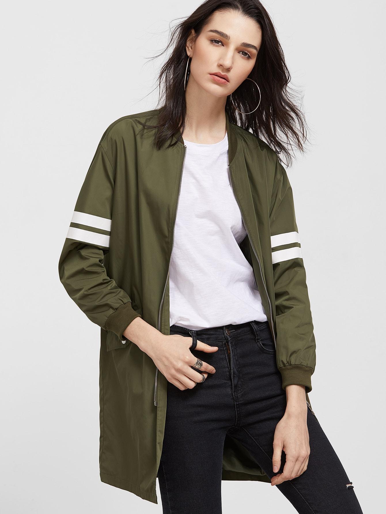 Olive Green Striped Sleeve Longline Zip Up Bomber Jacket striped trim fluffy panel bomber jacket