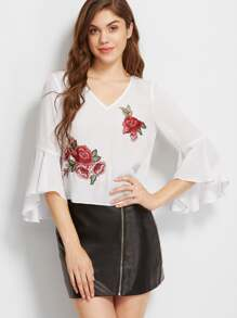 Cutout Back Frill Sleeve Rose Patch Top