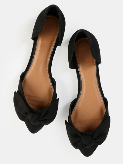 Pointed Toe Bow Flats BLACK