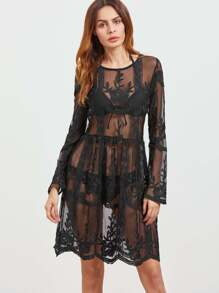 Cover Up Embroidered Mesh See-Through Dress