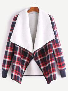 Multicolor Plaid Fleece Lined Contrast Drape Collar Binding Jacket