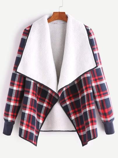 Plaid Fleece Lined Contrast Drape Collar Binding Jacket