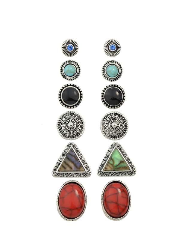 Фото Vintage Imitation Turquoise Round Triangle Stud Earrings. Купить с доставкой