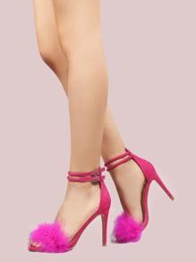 Suede Feather Stilettos FUCHSIA
