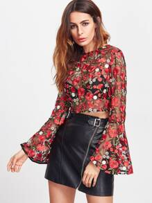 Red Bell Sleeve Flower Embroidered Mesh Top