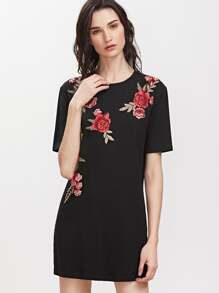 Black Embroidered Flower Applique Short Sleeve Tee Dress