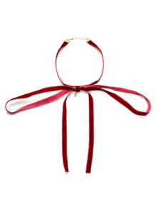 Burgundy Tie Neck Velvet Bowknot Choker Necklace